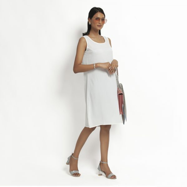 White Crepe Without Sleeves Dress
