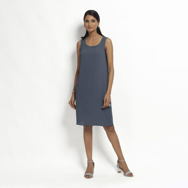 Buy Stone Blue Crepe Without Sleeves Dress Work Wear For Women