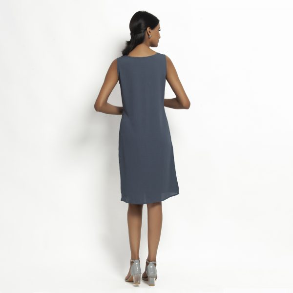 Stone Blue Crepe Without Sleeves Dress