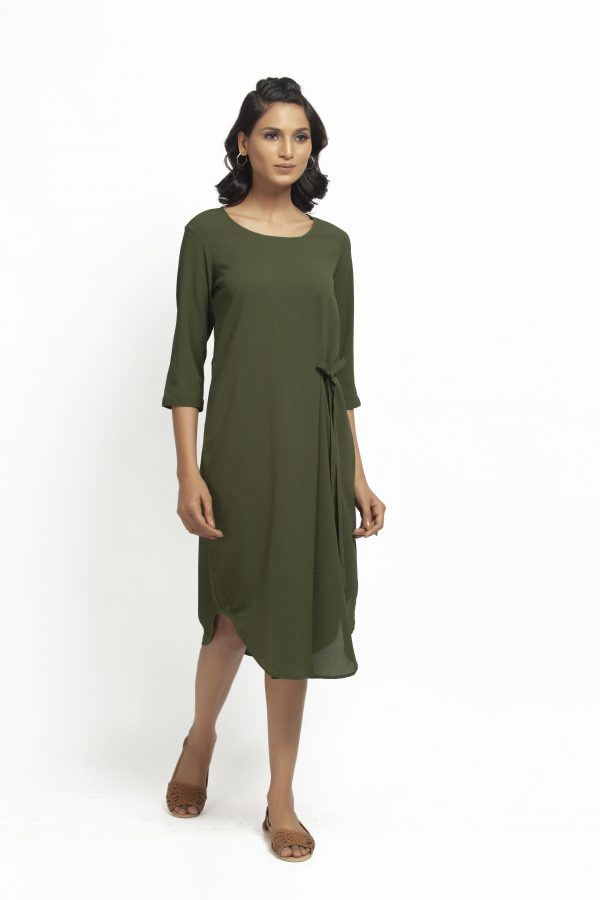 Green Crepe Tunic With Tie Knot