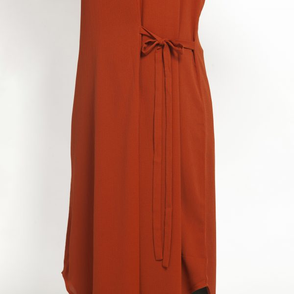 Orange Crepe Tunic With Tie Knot