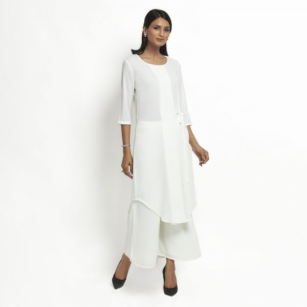 Buy White Crepe Tunic With Tie Knot Western Formals For Women