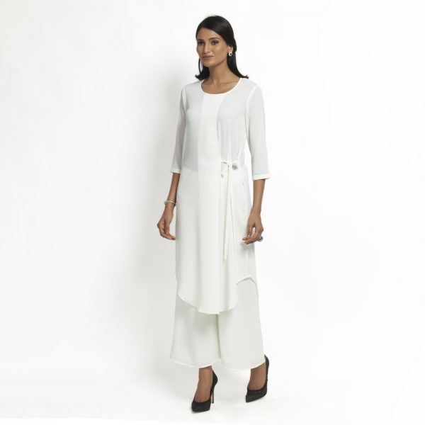 White Crepe Tunic With Tie Knot