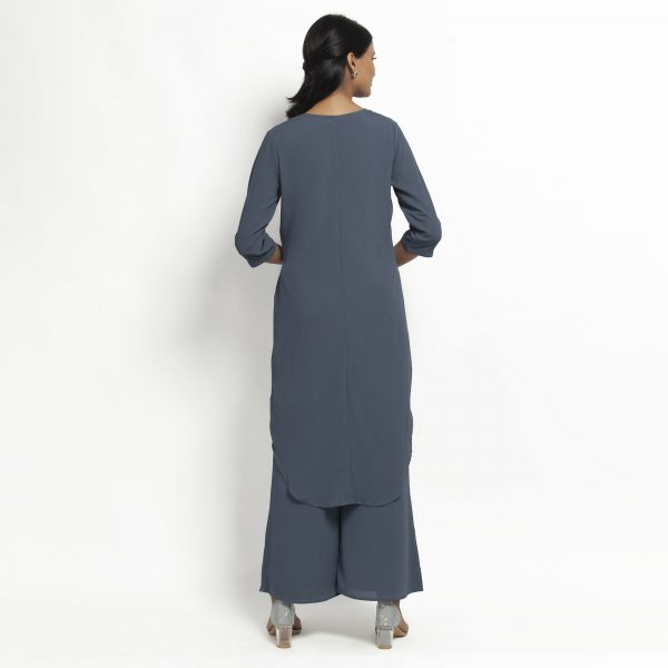 Stone Blue Crepe Tunic With Tie Knot