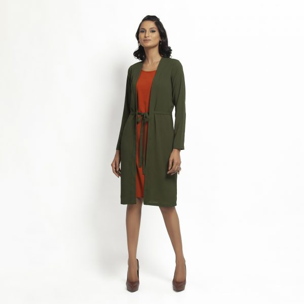 Green Crepe Jacket With Tie Knot