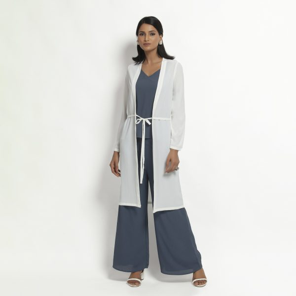 Buy White Crepe Jacket With Tie Knot Western Formals For Women