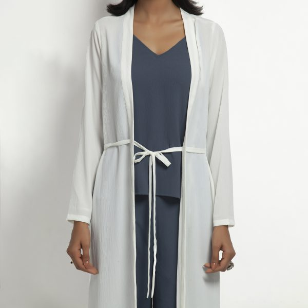 White Crepe Jacket With Tie Knot