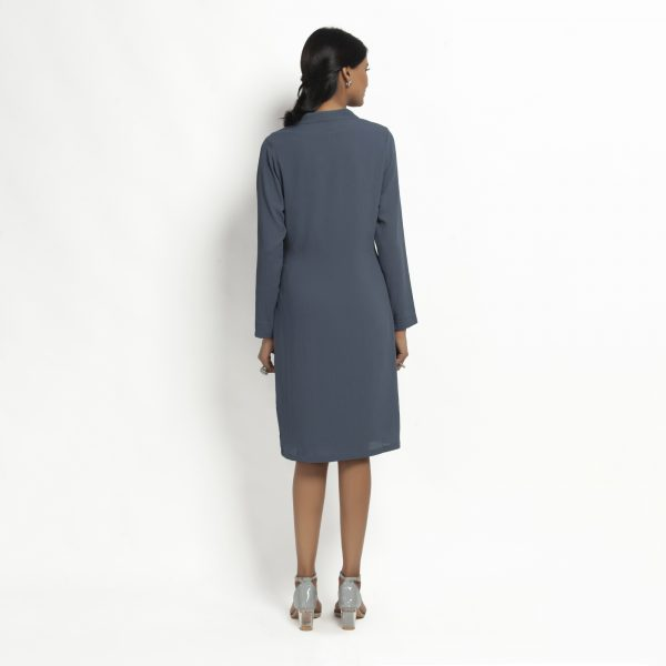 Stone Blue Crepe Jacket With Tie Knot