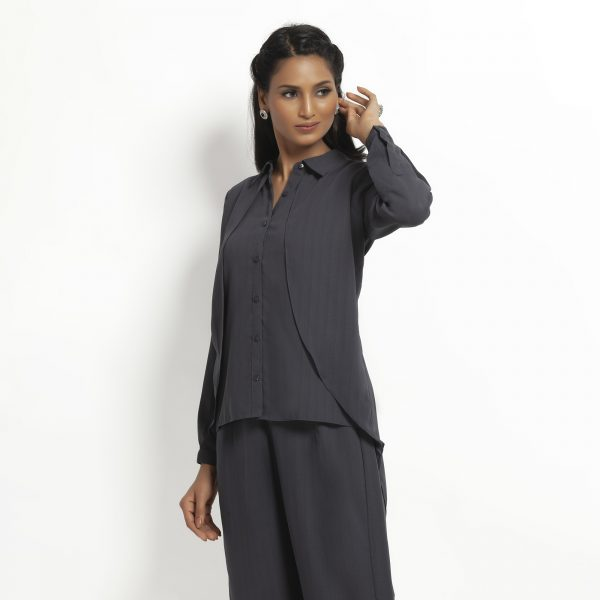 Dark Grey Double Layer Asymmetrical Top