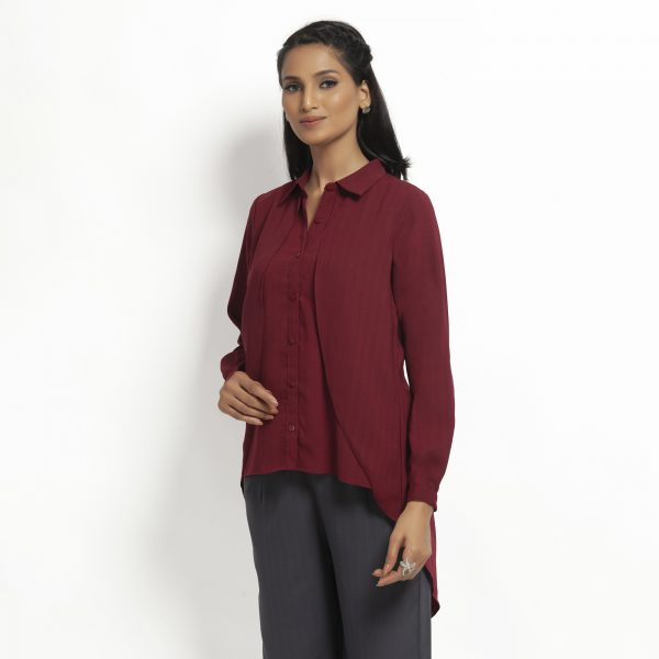 Maroon Double Layer Asymmetrical Top