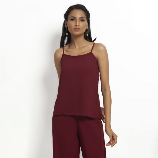 Buy Maroon spaghetti Top With Lace Power Dressing For Women