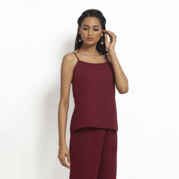 Maroon spaghetti Top With Lace