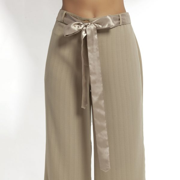 Beige Plazzo With Satin Belt
