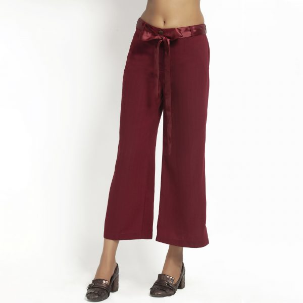 Maroon Plazzo With Satin Belt