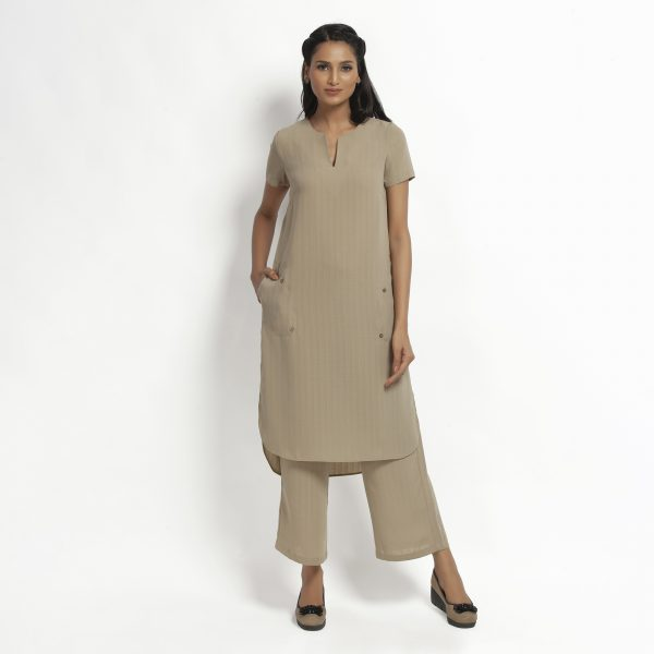 Buy Beige Kurta With Pocket Office Wear For Women - Office & You
