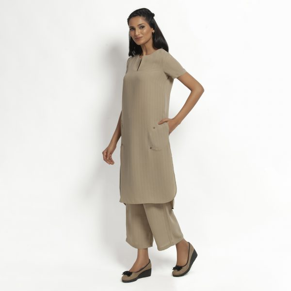 Beige Kurta With Pocket