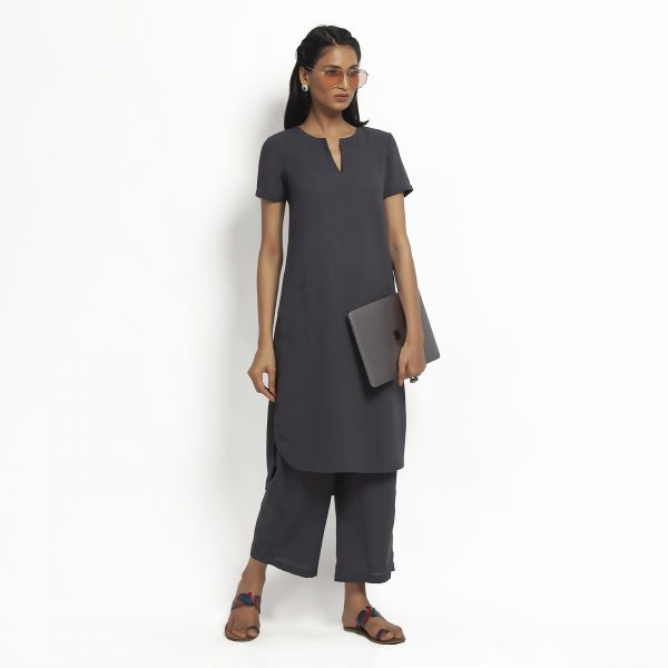 Dark Grey Kurta With Pocket