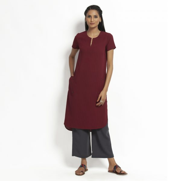 Buy Maroon Kurta With Pocket Western Formals For Women -Office & You