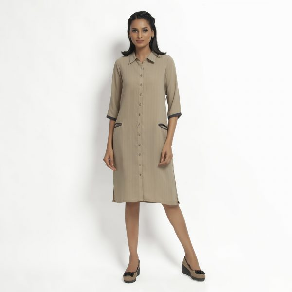 Buy Beige Tunic Jacket With Contrast Pocket Power Dressing For Women