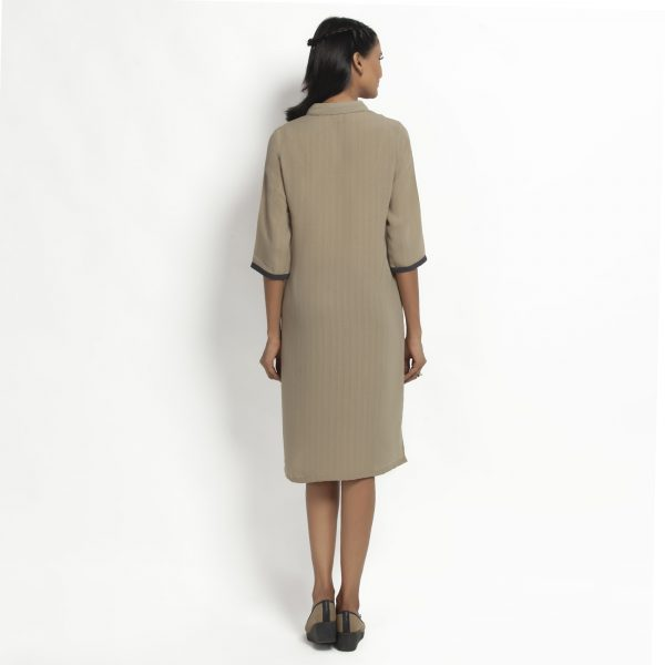 Beige Straight Tunic Jacket With Contrast Pocket