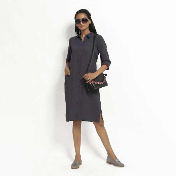 Dark Grey Straight Tunic Jacket With Contrast Pocket