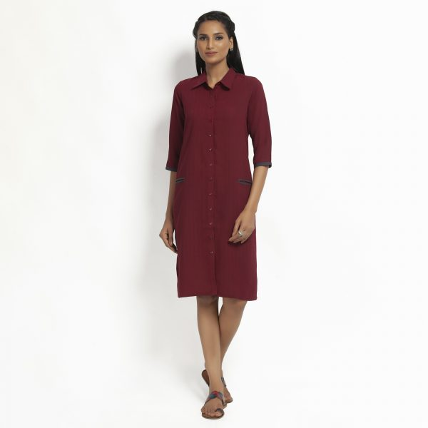 Maroon Straight Tunic Jacket With Contrast Pocket