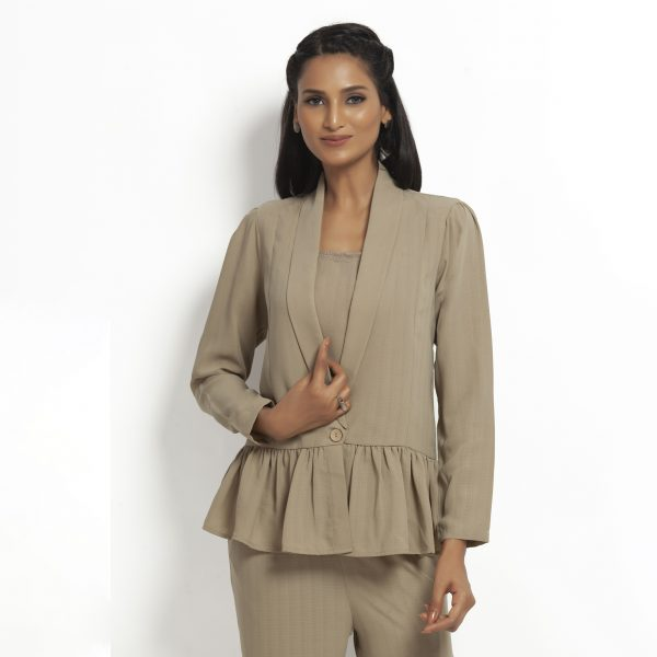 Buy Beige Jacket With Gathers Office Wear For Women - Office & You