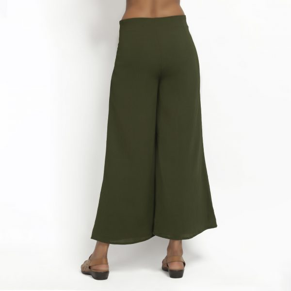 Green Crepe Plazzo With Lining